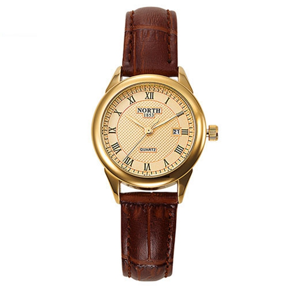 Practical NORTH Women Fashion Casual Watch 30M Waterproof Luxury Brand Quartz Female Watches Gift Clock Ladies Gold Dress Wris