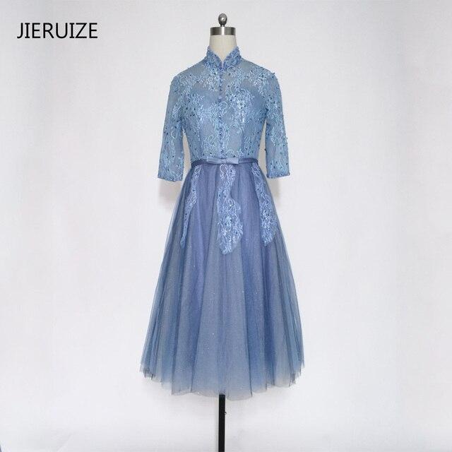 JIERUIZE Grey Lace Appliques Beaded Short Evening Dresses Knee ...