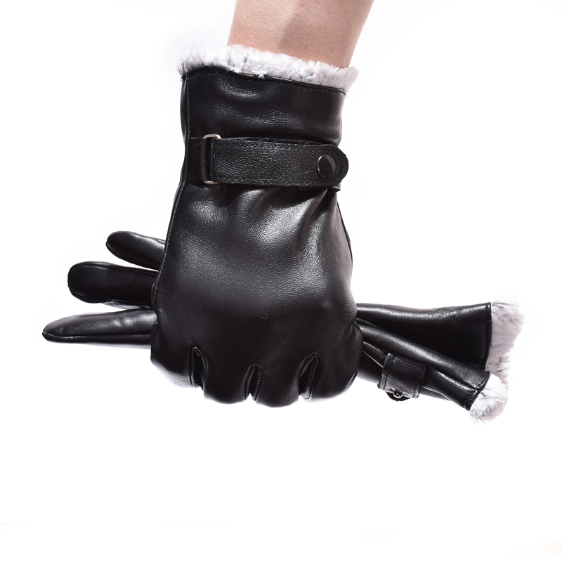 Winter New <font><b>Gloves</b></font> For Male Genuine Leather <font><b>Men</b></font> <font><b>Gloves</b></font> Warm Full Finger Goatskin Mittens High Quality Black Touch Screen Mitten