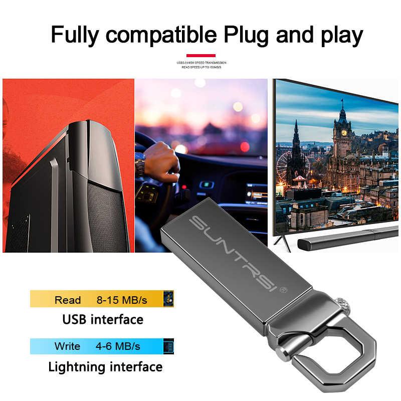 Suntrsi محرك فلاش usb 2.0 معدن بندريف عالية السرعة USB عصا 32 جيجابايت القلم محرك القدرة الحقيقية 16 جيجابايت فلاشة مزودة بفتحة يو إس بي شحن مجاني