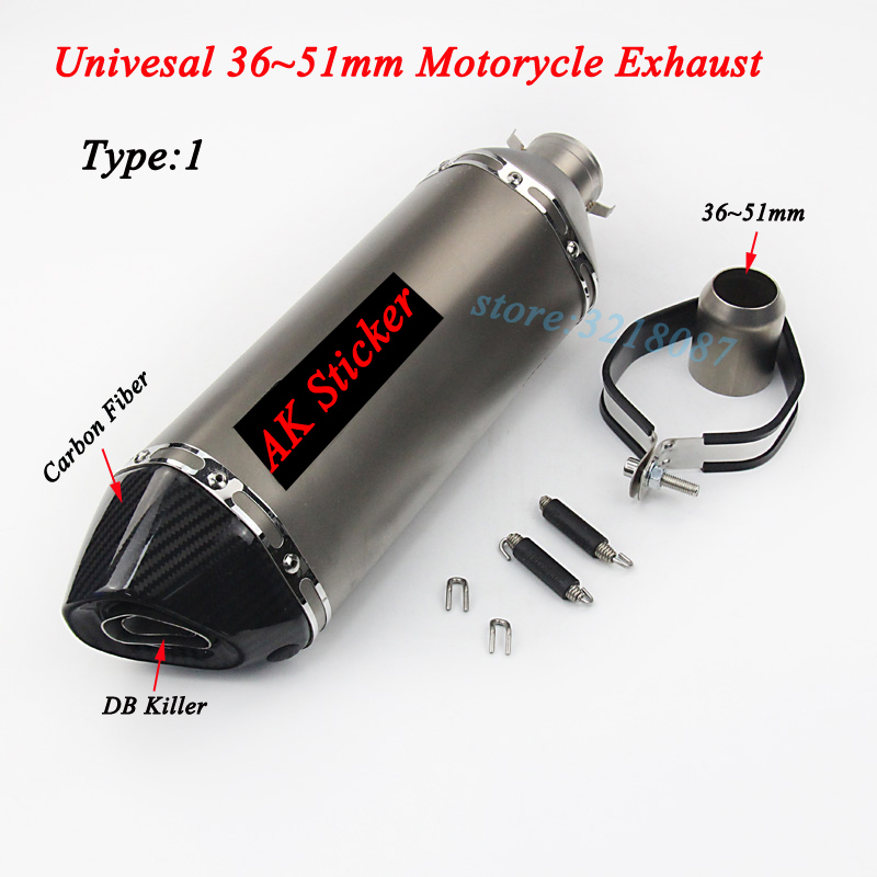 470mm Akrapovic Exhaust Motorcycle Laser Marking Sticker Carbon Fiber Muffler Db Killer For Cbr500 Ninja300 Z750 R3 Gsxr600