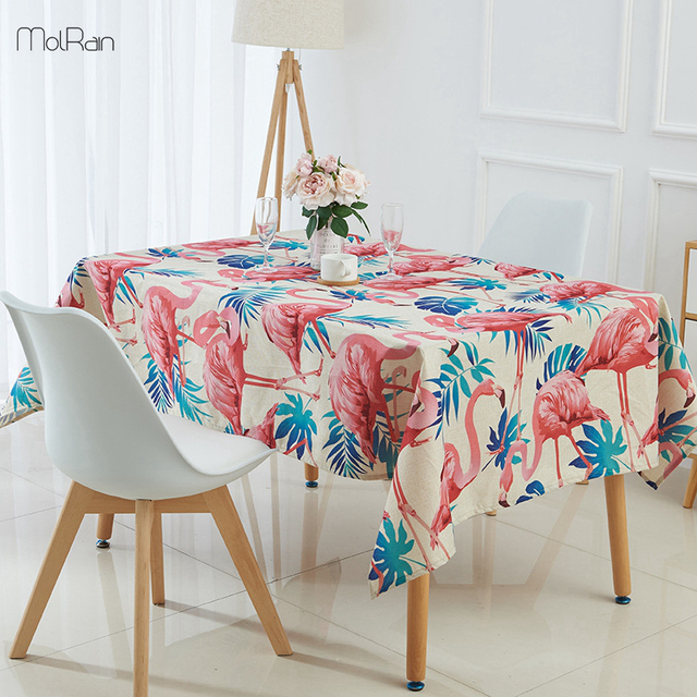 1pcs Tropical Plants Flamingo Tablecloth Indian Style Decorative Dining Table Cover For Kitchen Linen Printed