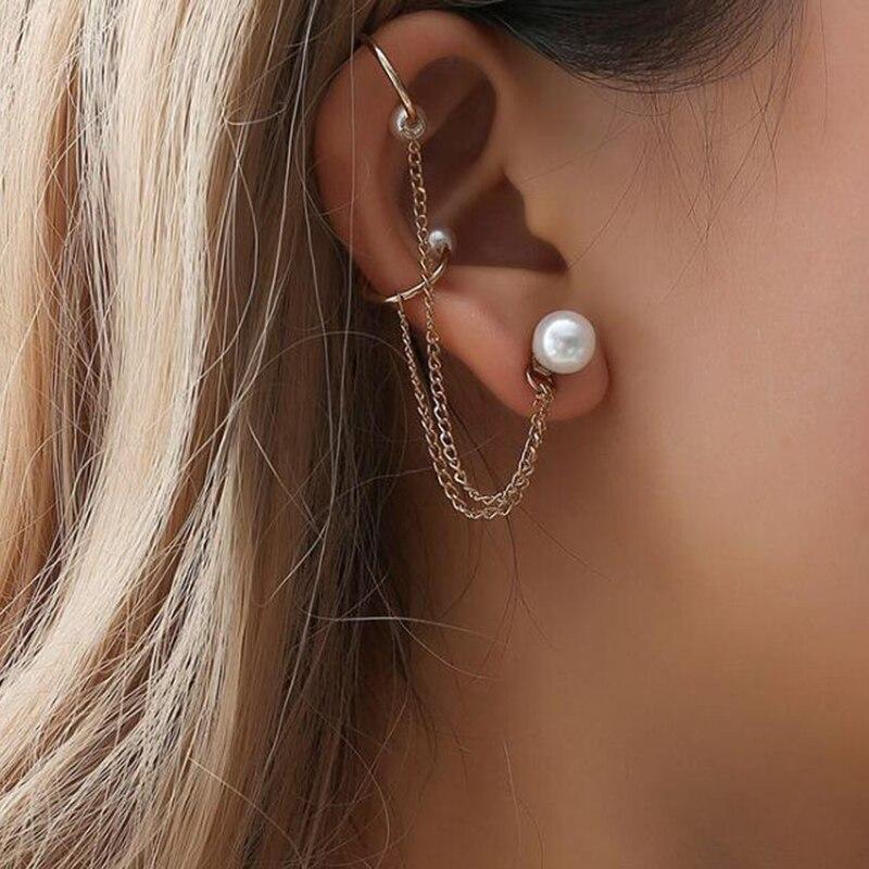 2018 New Fashion Tassel Chain Imitation Pearl Earrings For Women Punk Style Ear Cuff Clip Earrings Female Jewelry(China)