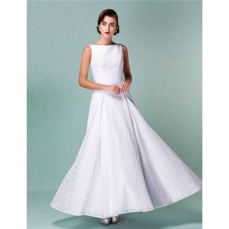 All Lace Wedding Gowns: LAN TING BRIDE A Line Bateau Neck Ankle Length All Over