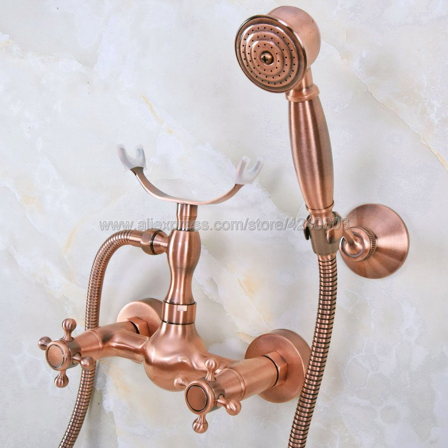 Antique Red Copper Bathroom Shower Faucet Bath Faucet Mixer Tap With Hand Shower Head Set Wall Mounted Kna344Antique Red Copper Bathroom Shower Faucet Bath Faucet Mixer Tap With Hand Shower Head Set Wall Mounted Kna344