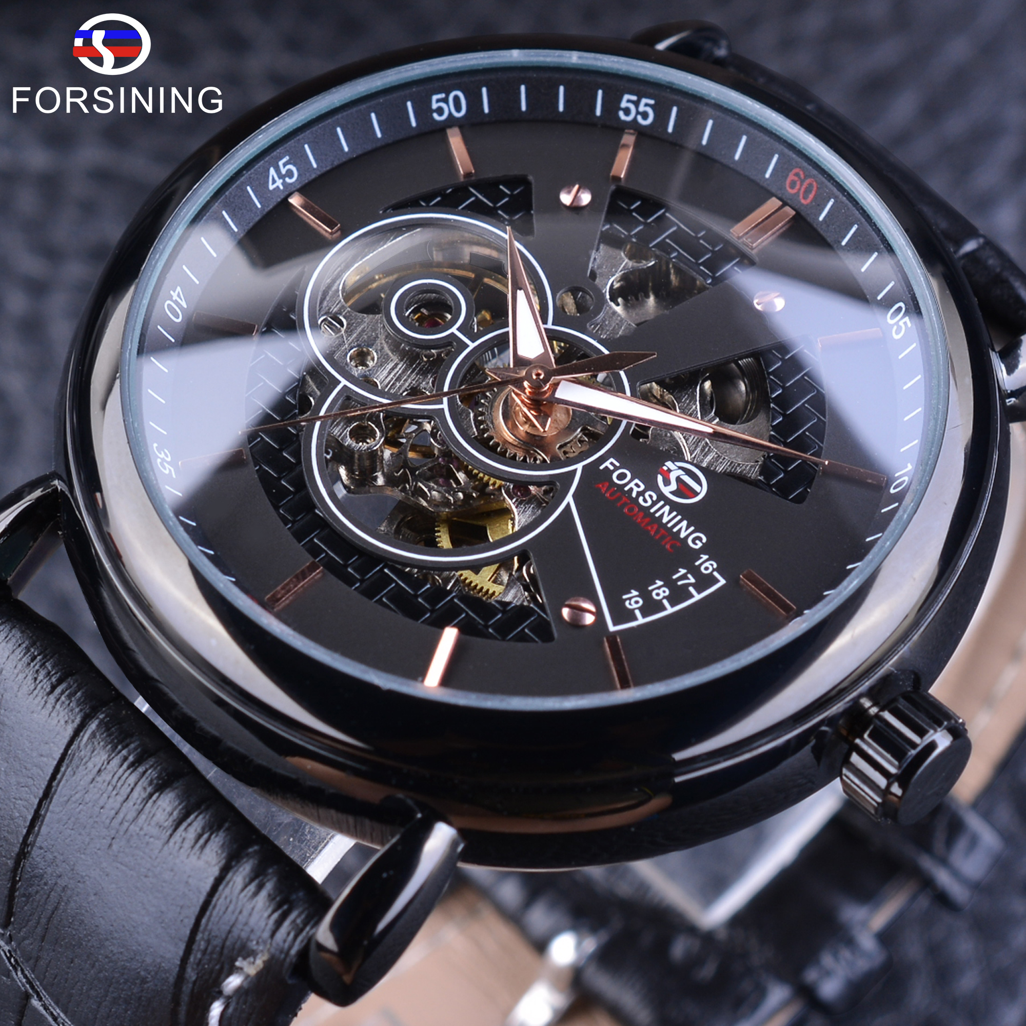 Forsining 2017 Transparent Case Self Winding Skeleton Luxury Design Mens Watch T