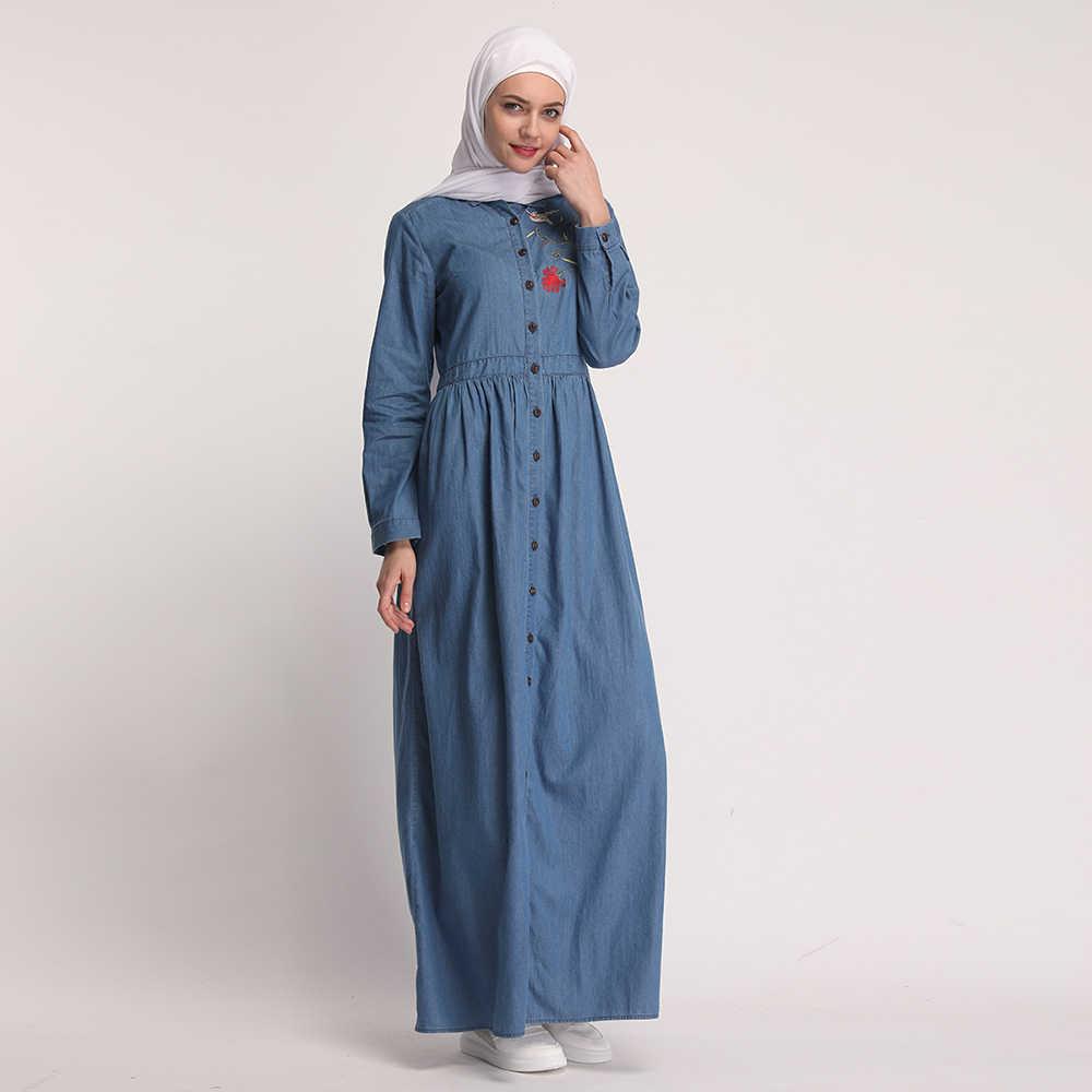 Мусульманское женское платье вышитые Полная кнопка Турция Ближний Восток длинное джинсовое платье Мода Турецкий костюмы длинный кардиган
