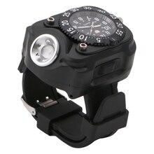 Táctico Linterna Antorcha de Luz LED Reloj de pulsera USB Recargable Acampar Al Aire Libre