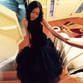 Frete Grátis Long Black Mermaid Prom Dresses 2016 Tulle Frisado Africano Vestido de Baile Vestidos De Festa Formal Vestido de Noite