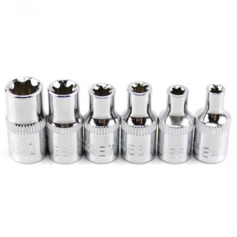 HUAFENG BIG ARROW 6 PC 1/3 Inch (6,3 mm) Torx Star Bit Femei E Socket Set E4, E5, E6, E7, E8, E10