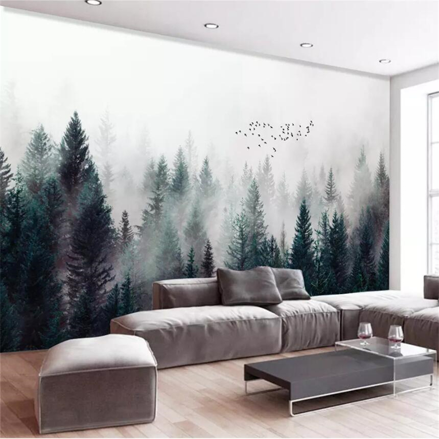 Beibehang Custom Wallpaper 3d Photo Mural Modern Fresh Fog Forest Cloud Fog Bird Nordic Sofa Background Wall Papers Home Decor