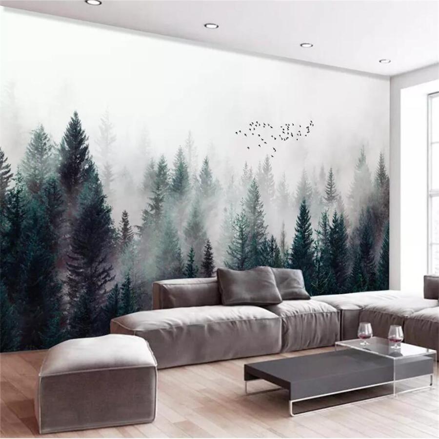 Beibehang Custom Wallpaper 3d Photo Mural Modern Fresh Fog Forest Cloud Fog Bird Nordic Sofa Background Wall Papers Home Decor