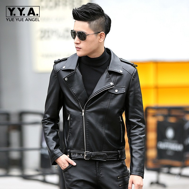 70d3dd95c81 New Men's Popular Handsome PU Leather Jacket Punk New Turn-down collar Leather  Jackets Zipper Men Chupas De Cuero Hombre