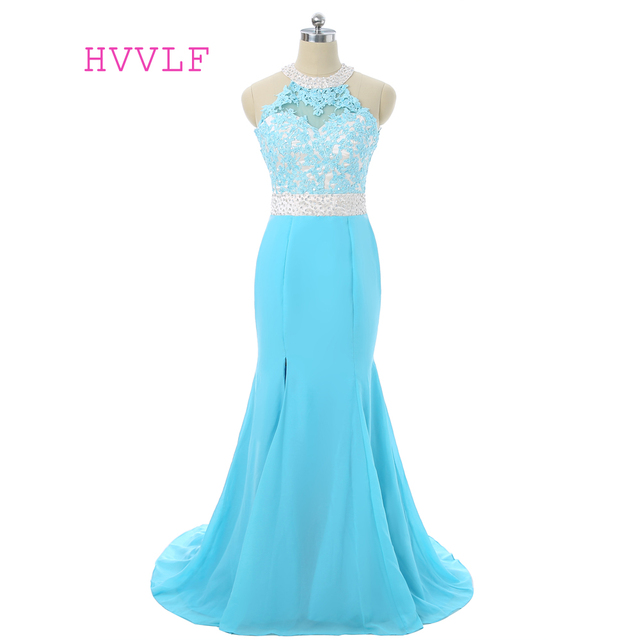Turquoise 2018 Prom Dresses Mermaid Halter Chiffon Lace Beaded Open ...