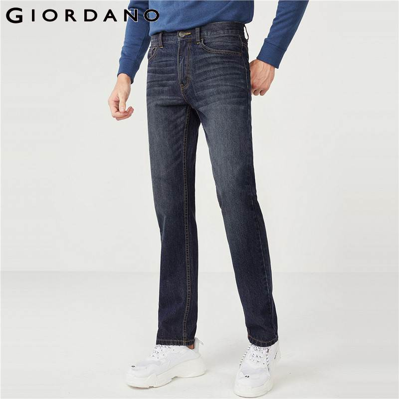 Giordano Men Stretchy Jeans Slim Tapered Jeans For Men Brand Washed Denim Pants Quality Clothing For Men