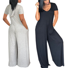2018 New Arrival None Jumpsuits Calf-length Pants Casual Loose Solid Cotton Linen Jumpsuits, Playsuits & Bodysuits