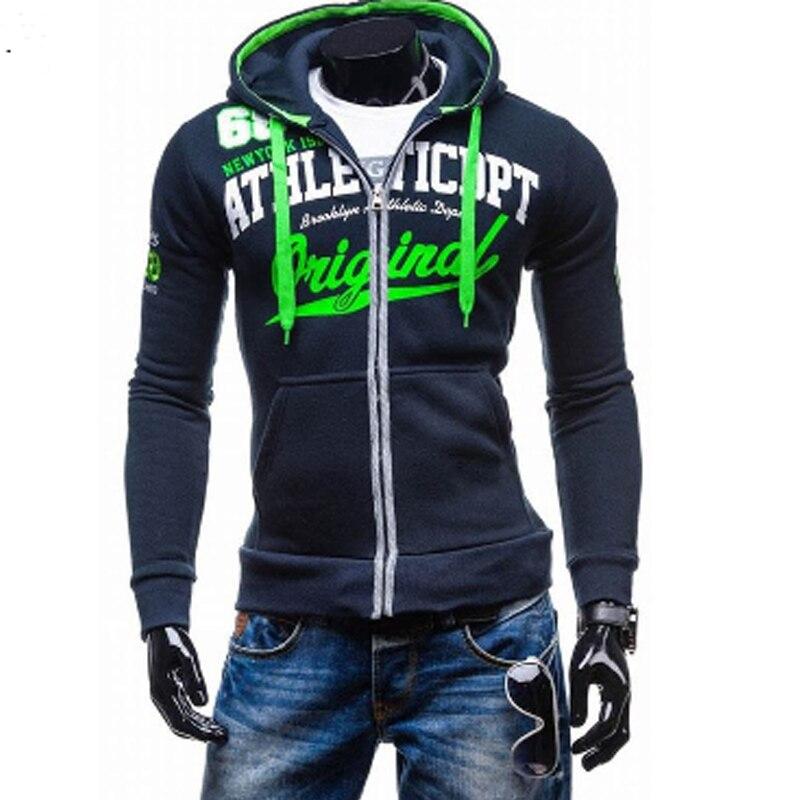 2016 Hoodies Men Sudaderas Hombre Hip Hop Mens Brand Letter Hooded Zipper Hoodie Sweatshirt Suit Slim