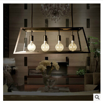 American Village Pendant Lights Cafe Restaurant Dining Table Iron Rectangular Glass Box Four Led Lamp