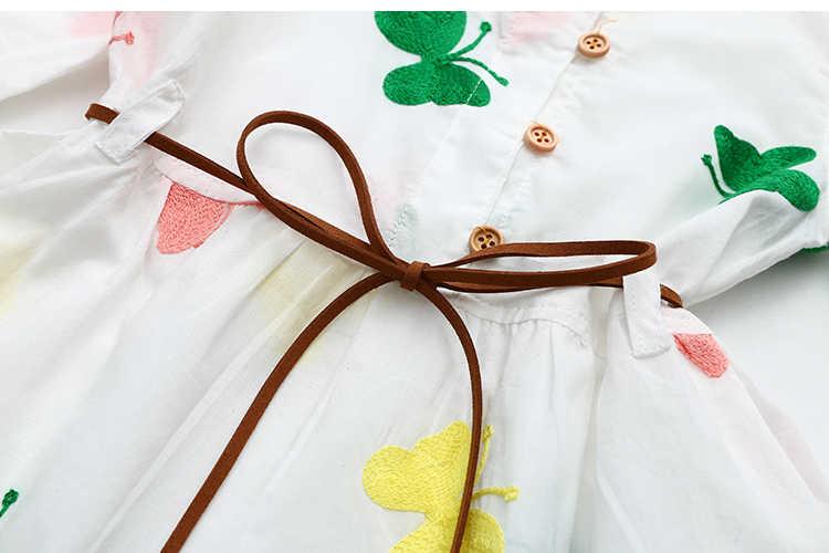 Vestido bordado para bebé 2017 primavera nueva ropa para niños vestido con estampado de mariposa blanca larga para niños
