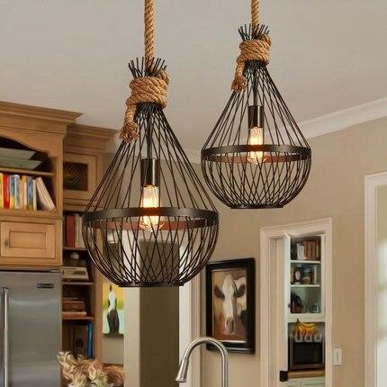 Creative Loft Style Hemp Rope Iron Droplight Edison Vintage Pendant Light Fixtures For Dining Room Hanging Lamp Home Lighting