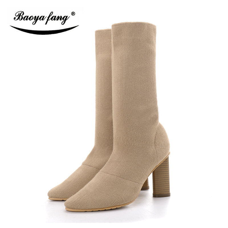 New arrival high heels Pointed toe boots womens fashion boots thick heel size 34-41 womens Boots