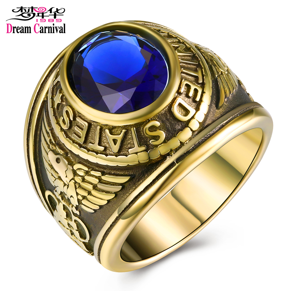 DreamCarnival 1989 US Navy Military Gothic Rings for Men Stainless Steel Antique Gold Color Anel Montana Blue Stone TK414707 ...