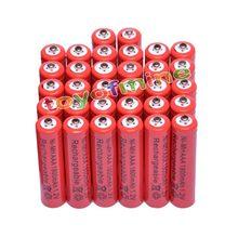 Lot de 4, 8, 16, 24, 32 ou 48 piles rechargeables, AAA 1800mAh, 3a, 1.2 V, Ni-MH, rouge, pour jouets MP3 RC