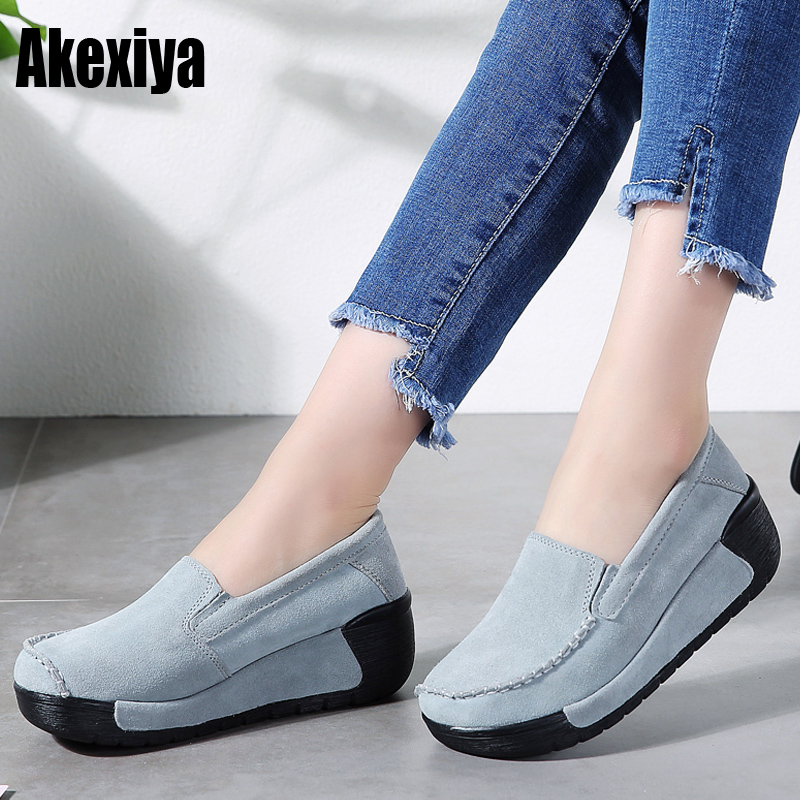 2019 Spring Women Flat Platform Shoes   Suede     Leather   Loafers Slip on Casual Shoes Women Moccasins Ladies Creepers d959