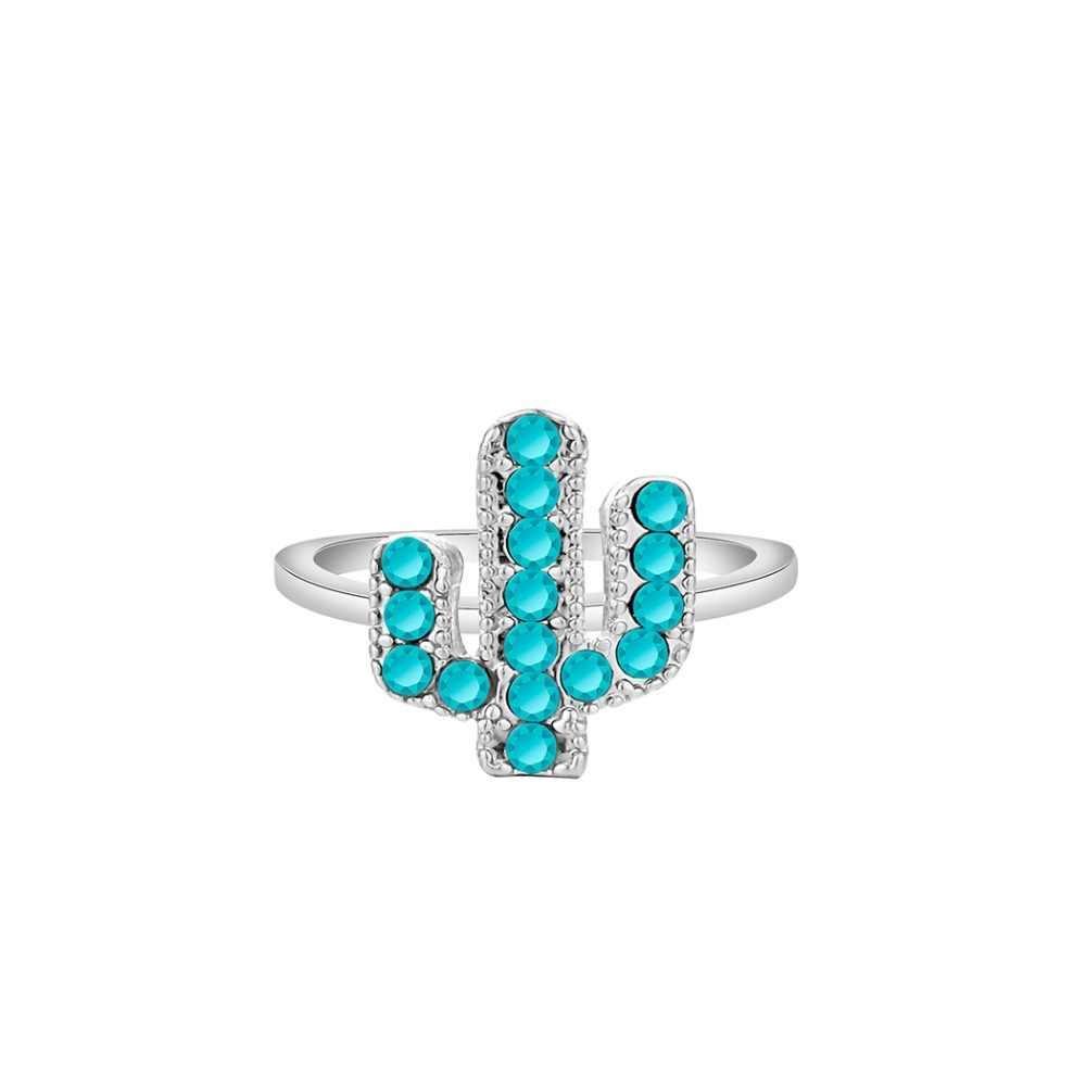 Glamorous สีฟ้าคริสตัล Desert Cacti แหวนผู้หญิงโรงงานเครื่องประดับเรขาคณิตต้นไม้นิ้วมือแหวนหิน Handmade ทองแดง Bijoux Party ของขวัญ