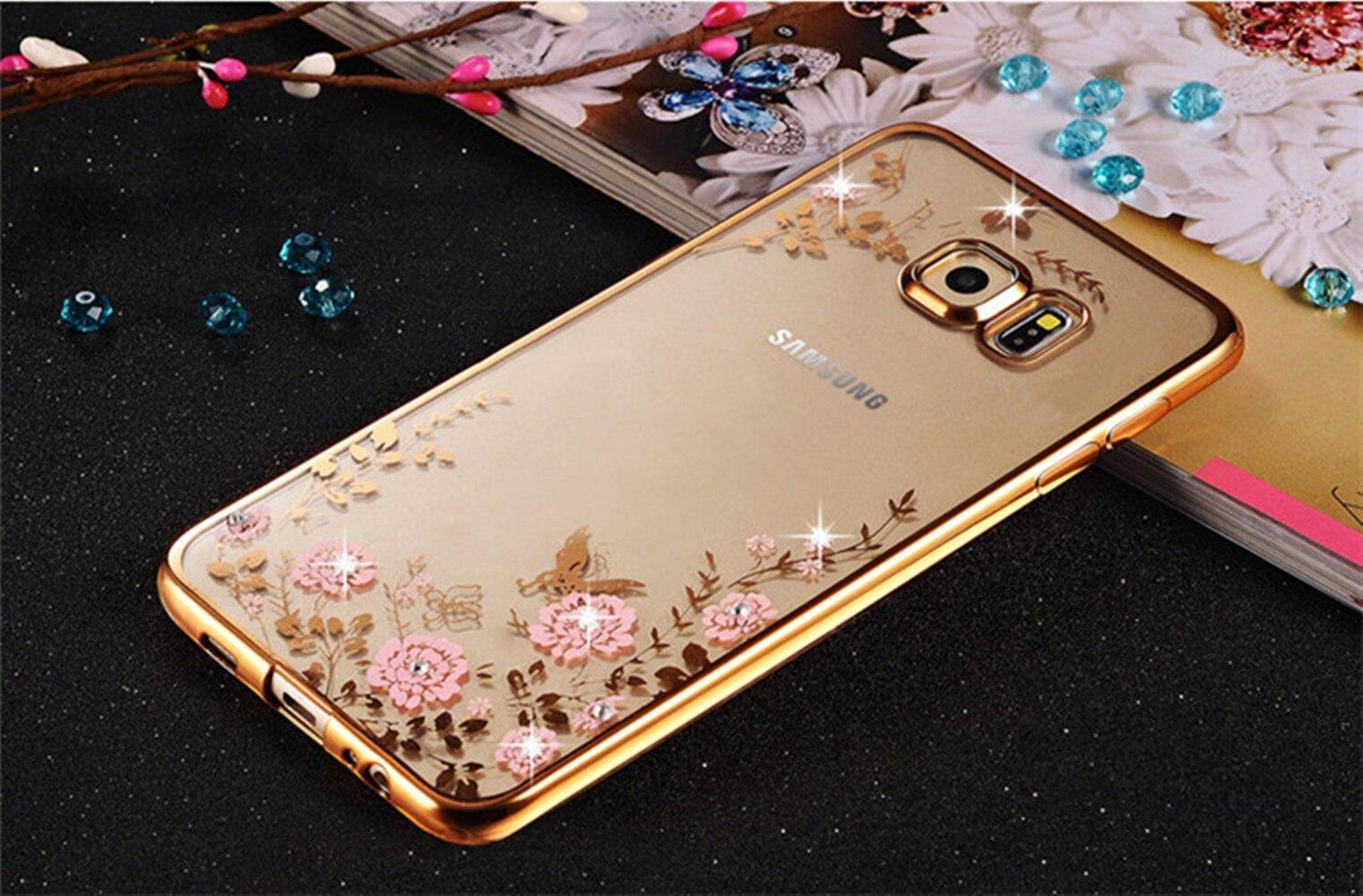Luxury Diamond Flowers Back Cover Soft TPU Phone Case For Samsung Galaxy J1 J2 J3 J5 J7 Prime A3