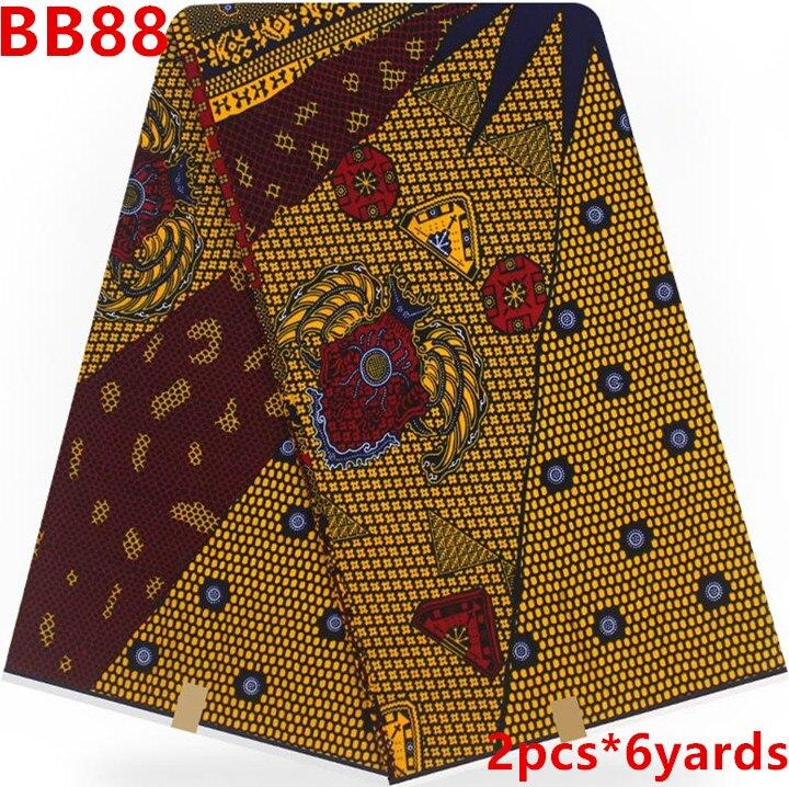 Hot koop afrikaanse stof afrikaanse wax prints stof tissus wax stoffen voor patchwork 12 yards 100% katoen ankara stof BB88-in Stof van Huis & Tuin op  Groep 1