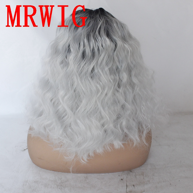 MRWIG 10in 16in 1b Silver Grey Short Bob Curly Synthetic Front Lace Wig Heat Resistant Fiber for Woman in Synthetic None Lace Wigs from Hair Extensions Wigs