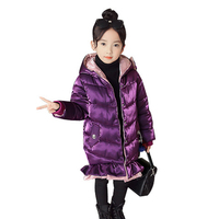 Girls Coats Winter 2018 Jacket Natural Bow Hoodie Long Thick Winter Jacket Girls Child Coat Outwear Warm for Cold Winter 4 12Y