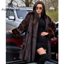 FURSARCAR 2018 New Arrival Luxury Natural Mink Fur Coats For Women With Turn-down Collar 100 CM Long Real Female Coat