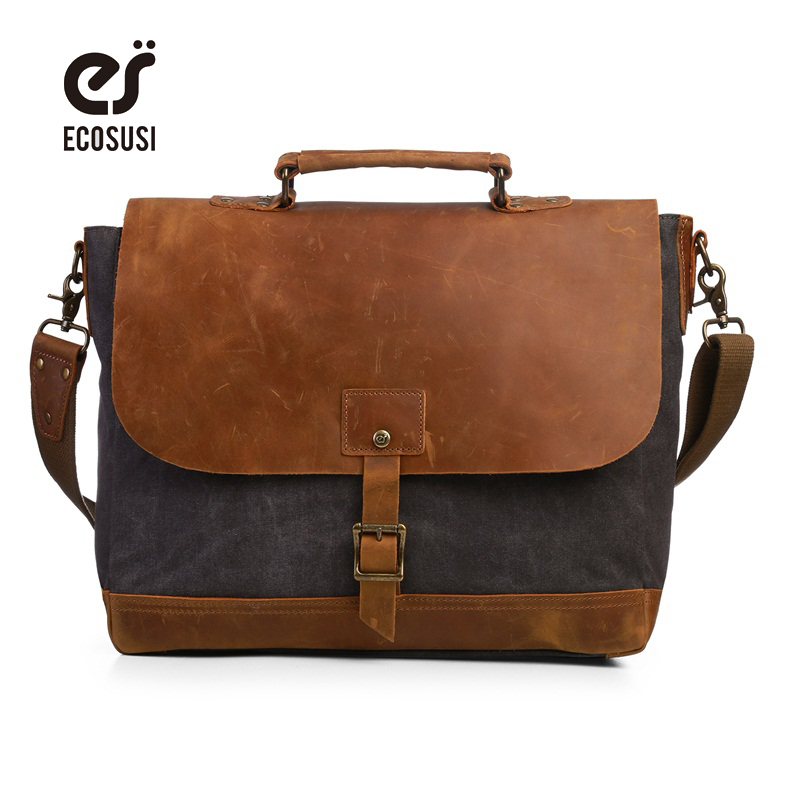 ECOSUSI Men Canvas Leather Crossbody Bag Men Vintage Messenger Bags Large Shoulder Bag Laptop Handbag Bolsa Masculina augur men s messenger bag multifunction canvas leather crossbody bag men military army vintage large shoulder bag travel bags
