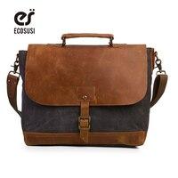 ECOSUSI Men Canvas Leather Crossbody Bag Men Vintage Messenger Bags Large Shoulder Bag Laptop Handbag Bolsa