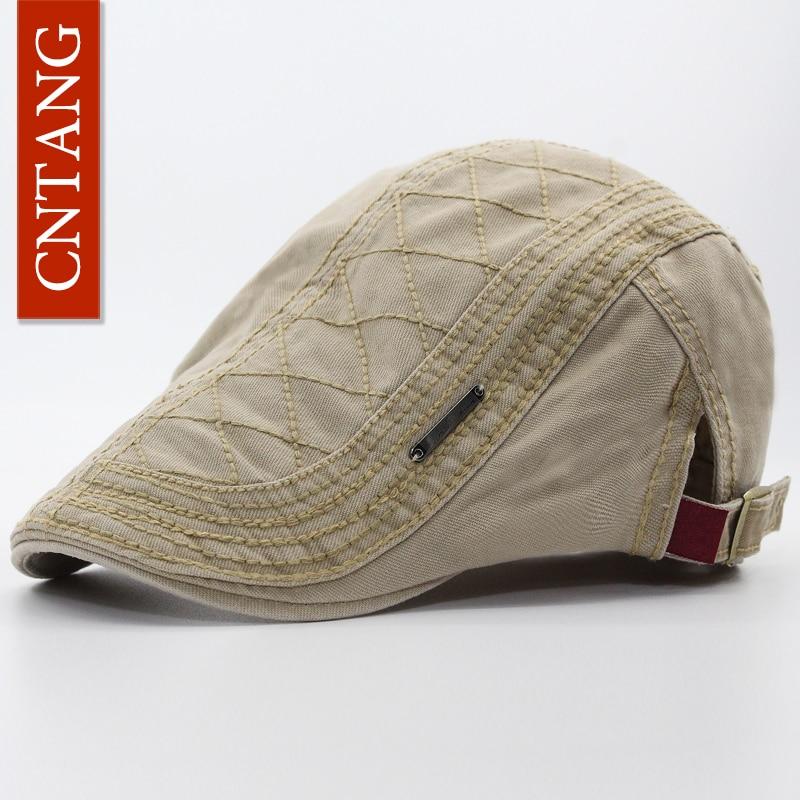 Cntang primavera outono algodão boina casuais cap viseira para homens moda  vintage botão chapéu plana tampas ajustáveis dos homens plana boinas em  Boinas de ... 7d32bb20f34