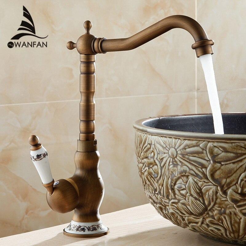 Смеситель для раковины, смеситель для раковины в античном стиле, с одной ручкой, с одним отверстием, для ванной комнаты, латунный кран горяче...