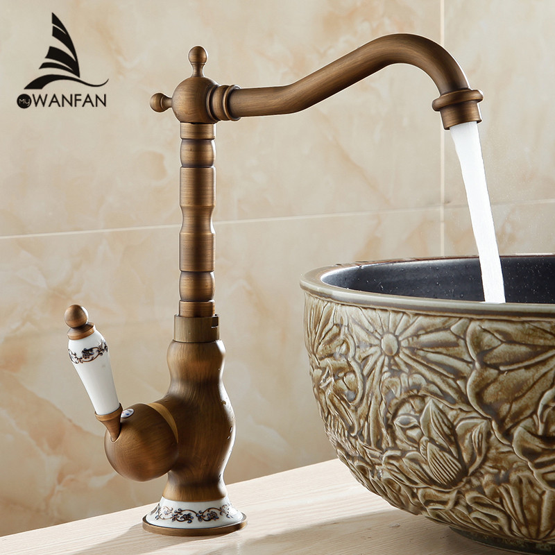 New Arrive Deck Mounted Single Handle 360 Degree Swivel Bathroom Sink Mixer Faucet Antique Brass Hot