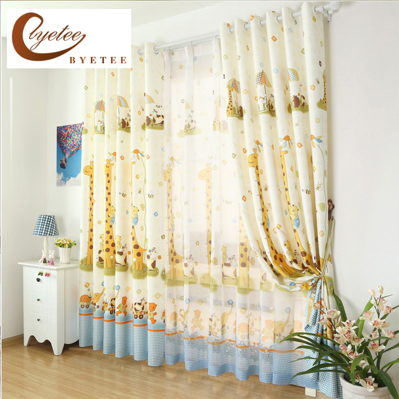 {byetee} Cartoon Customize Children's Bedroom Room Curtain Boys Giraffe Window Curtains for Kids Curtains for Bedroom