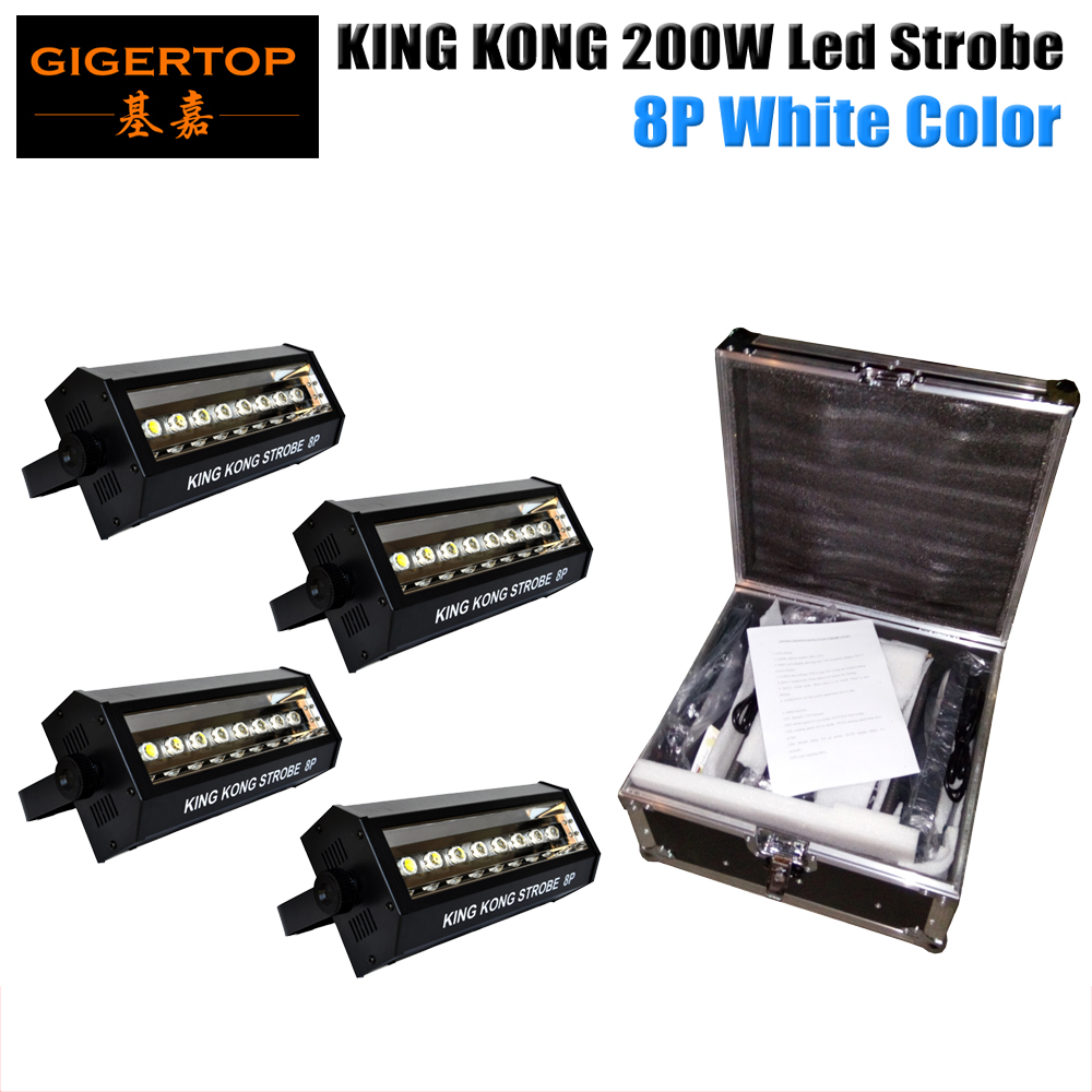 Freeshipping Flight Case 4in1 Packing 200W Led Strobe Light DMX 5 Channels <font><b>8</b></font>*20W High Brightness LCD Display DMX IN/OUT 3 Pin