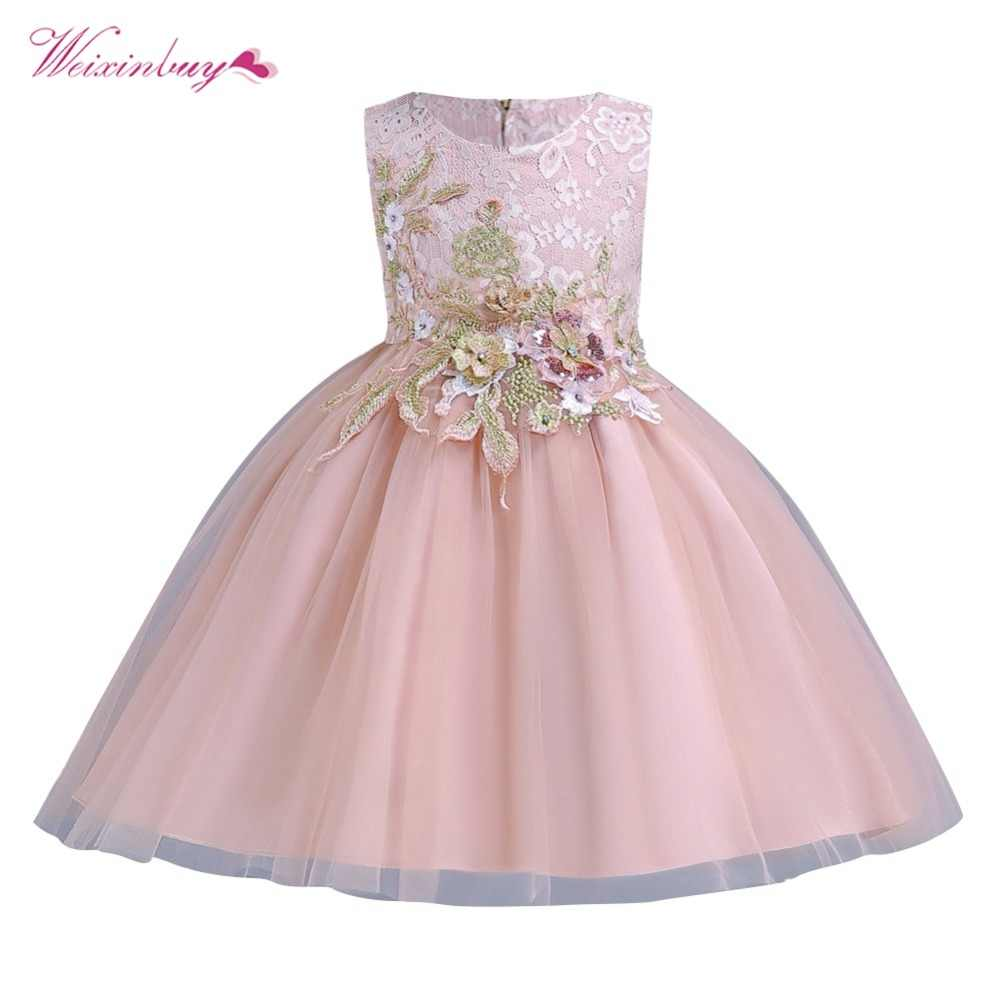 ad18a0b010 1-12 Years Kids Dress for Girls Wedding Tulle Lace Long Princess Dress  Elegant Party