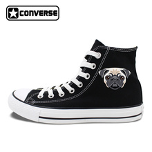 High Top Converse Chucks Sneakers Original Design Pet Dog Pug Canvas Shoes White Black High Top Flats