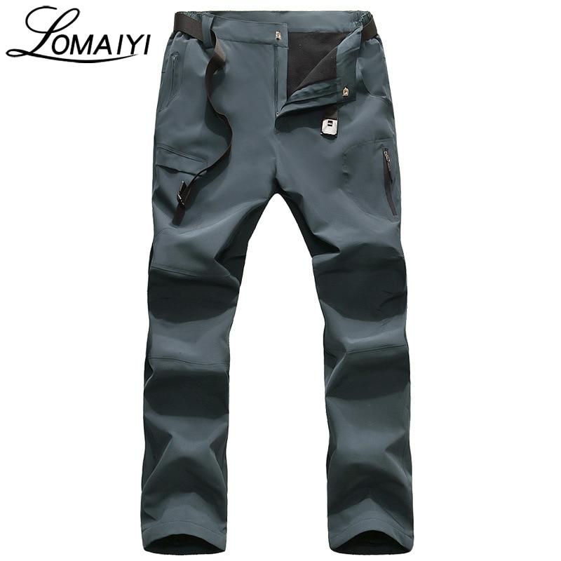 LOMAIYI NEW Mens Winter Casual Pants Men Warm Fleece Lining Softshell Trousers Male Black Windproof Waterproof Work Pants,AM204