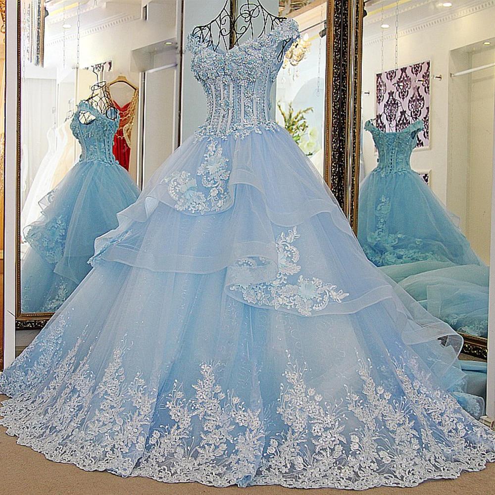 Wedding Gown With Blue: Vestido De Noiva Princesa Luxo Vintage Light Blue Wedding