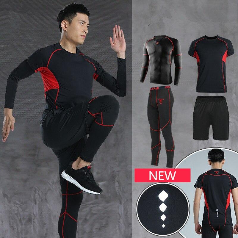Vestito degli uomini di Sport In Esecuzione Set Tute Da Jogging Abbigliamento Palestra Fitness Felpa Calzamaglia Pantaloncini Leggings Tute Traspirante - 3