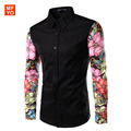 Men Shirts Long Sleeve 2016 brand clothing Contrast Color Arm Spliced Floral Mens Luxury Casual Shirts chemise homme
