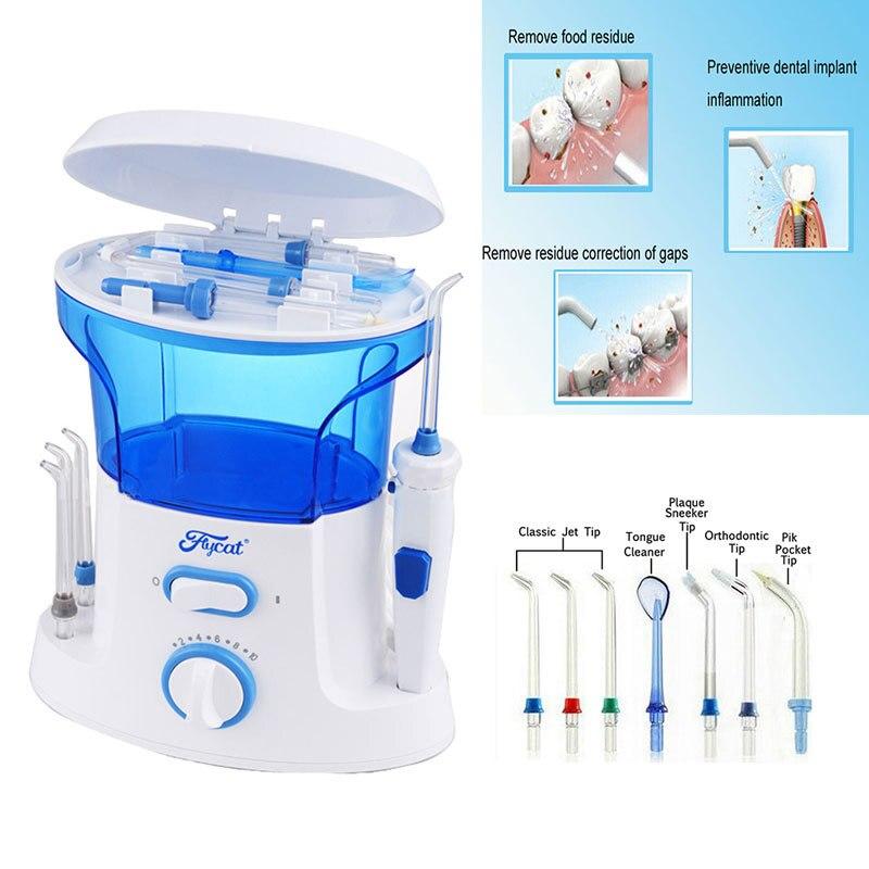 buy dental oral irrigator water flosser with 7pcs jet tip 600ml water tank. Black Bedroom Furniture Sets. Home Design Ideas