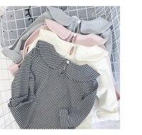 2017 Automne Bébé Filles Vêtements À Manches Longues Peter Pan Collar Casual Princesse T Shirt Tops Enfants Coton Enfants Rayé Blouse