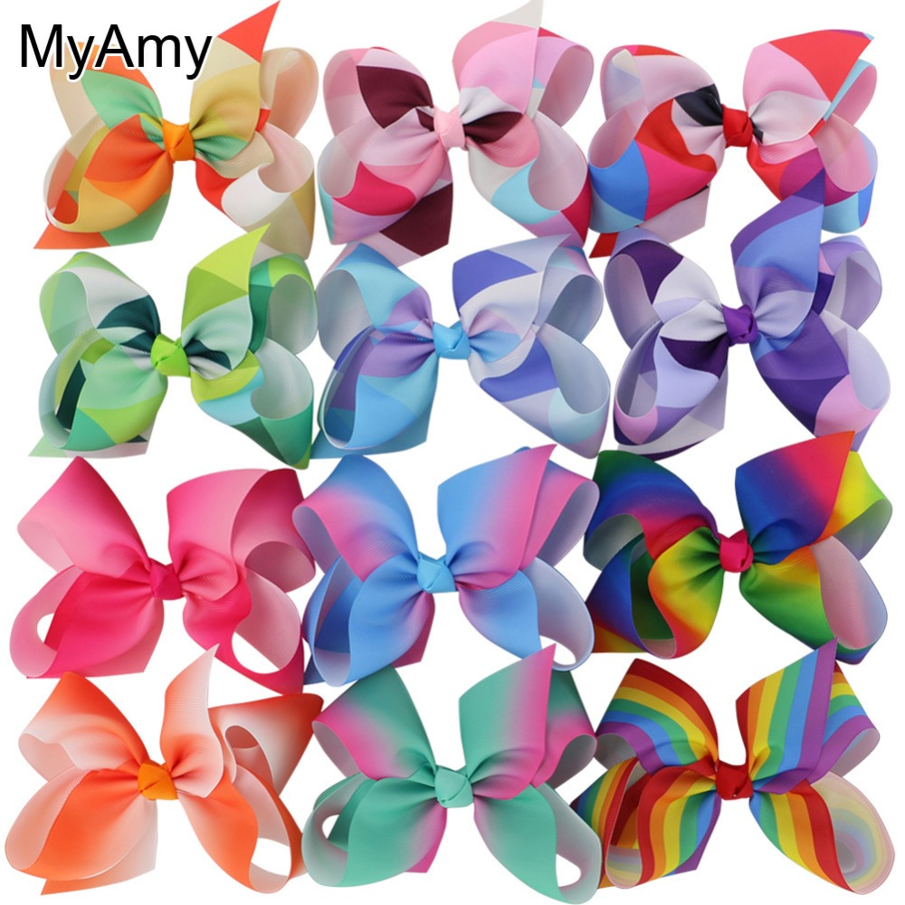 MyAmy Grosgrain Ribbon 6 Hair Bows With Alligator Clips Cartoon Boutique Rainbows hairbow 6 inches bows 12pcs/lot